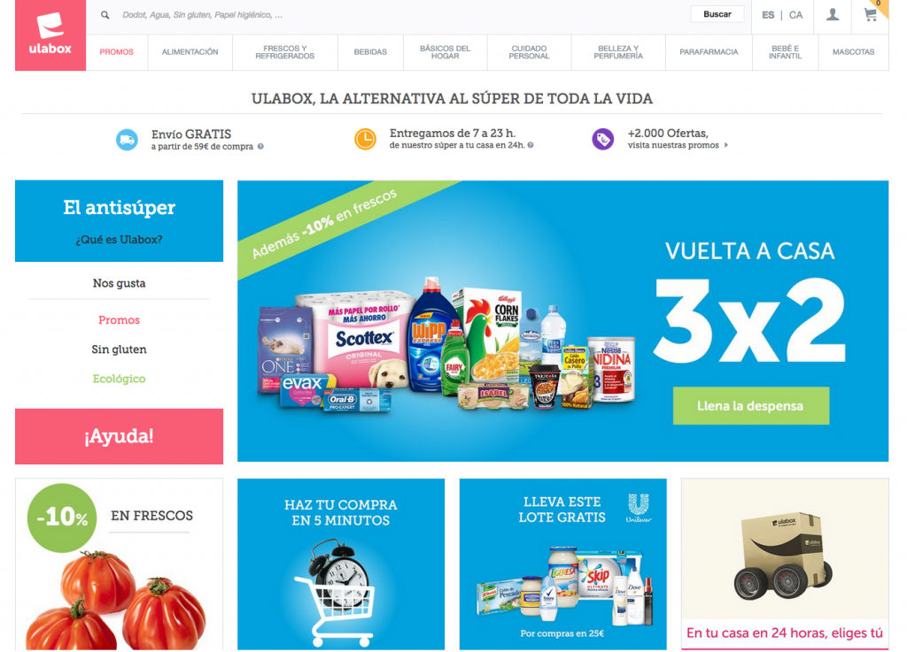 Primera vista del super online Ulabox