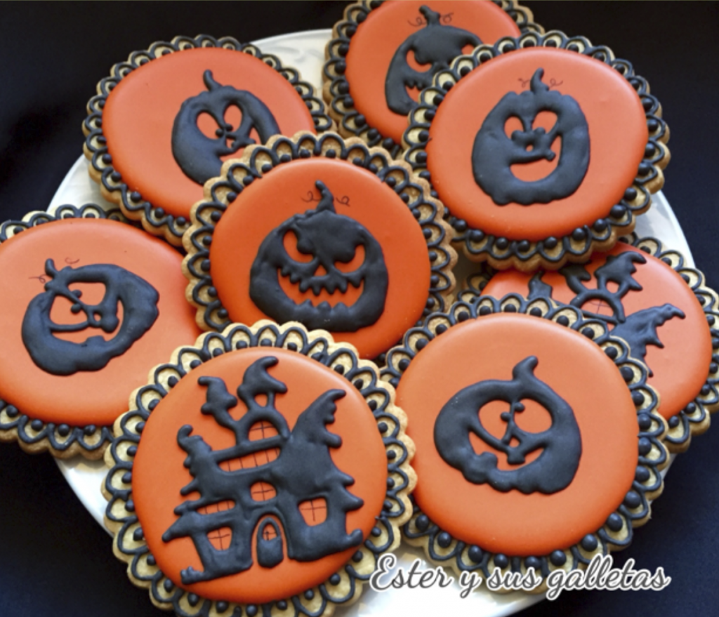 Galletas para Halloween decoradas con chocolate